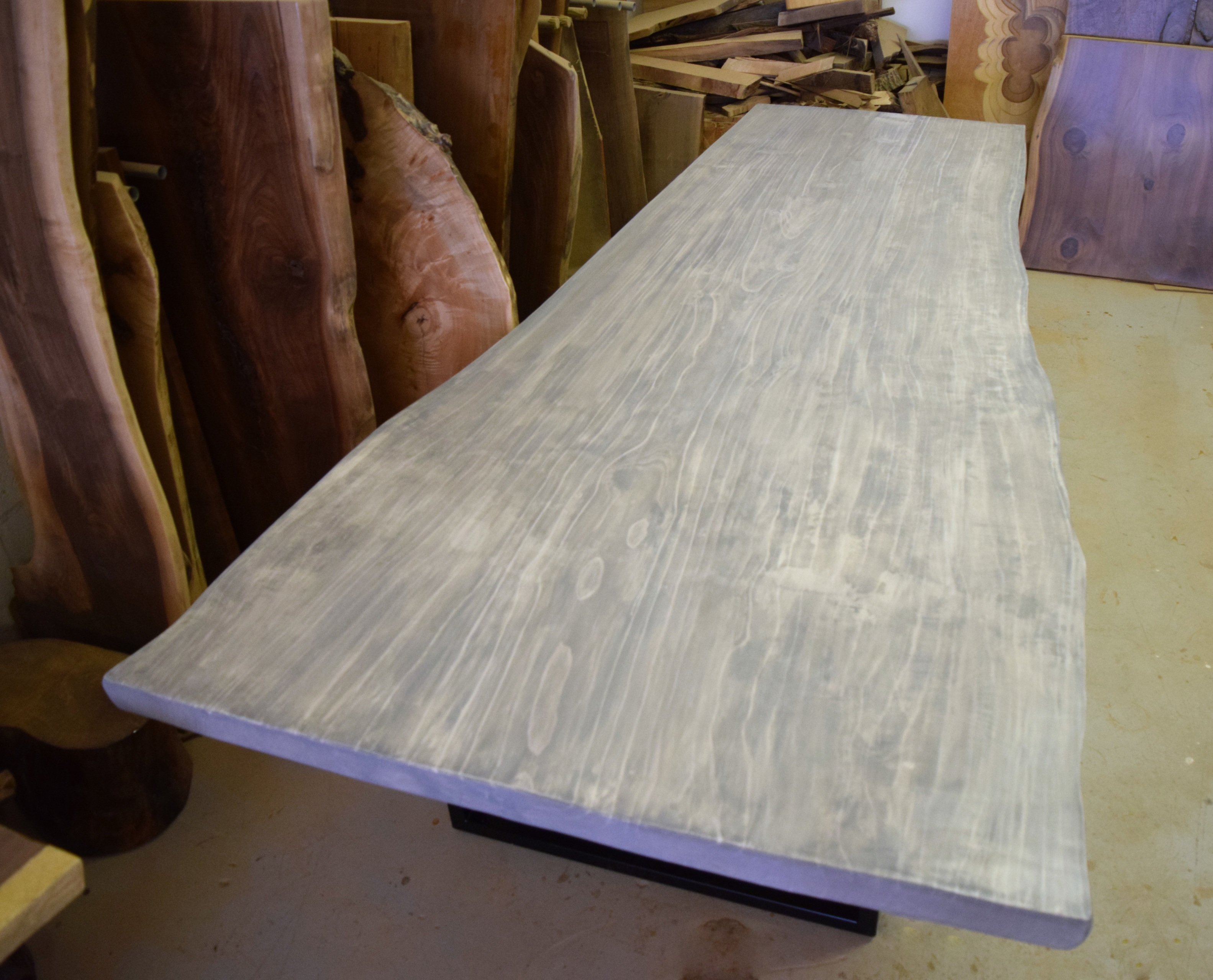 Live Edge Dining Table Grey Dining Table