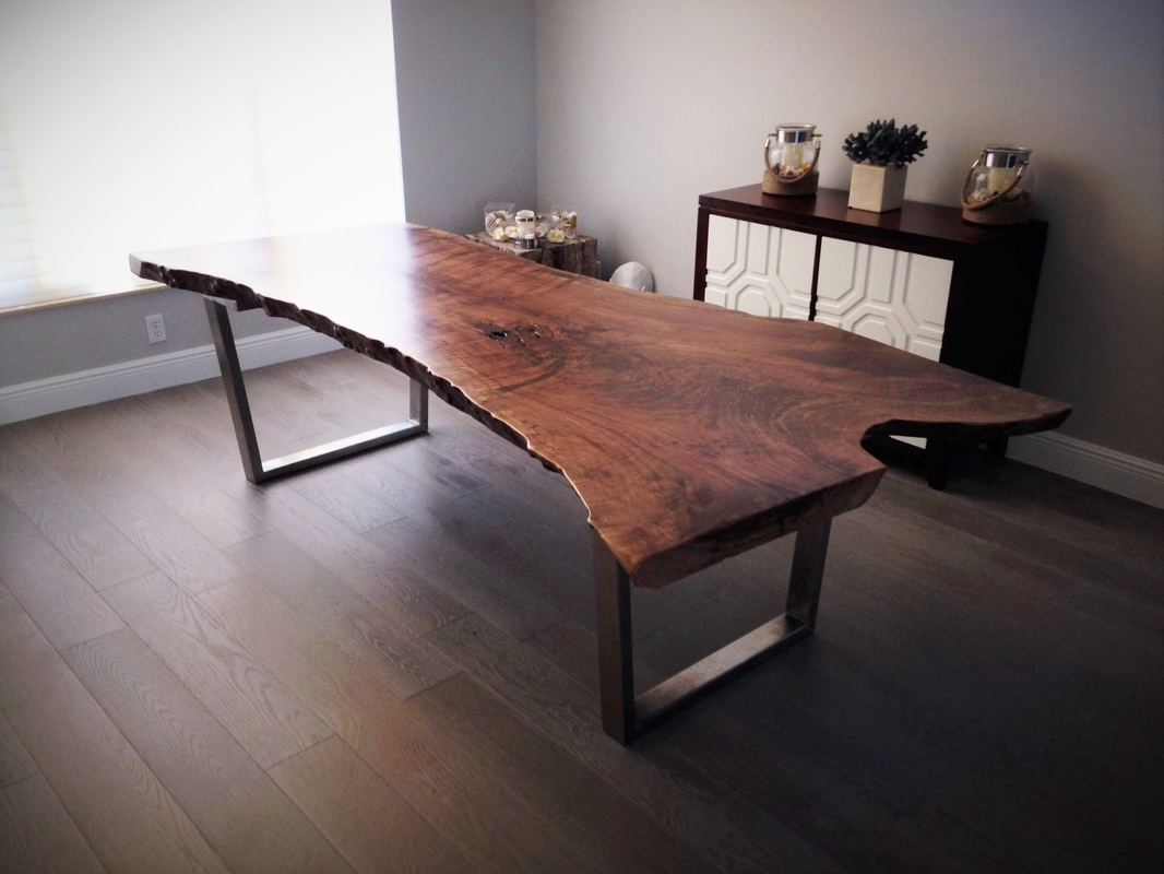 Walnut live edge dining table - Live Edge Walnut Dining Table Silver Tapered Base